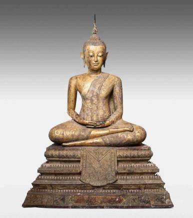 Sehr grosser sitzender Buddha Thailand, 18./19.Jh. Rattanakosin. Bronze mit Gold und Rotlack.