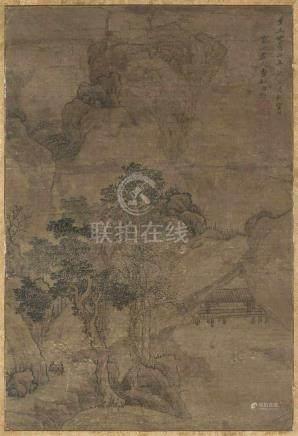 Cao Zhibai (1271–1355), zugeschrieben Tusche und Farbe auf Seide. Landschaft mit Pavillon zwischen