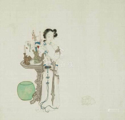 3 anonyme Malereien China, Qing-Dynastie. Tusche und Farben auf Seide. Drei feine Darstellungen