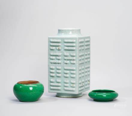 A GUAN-TYPE GLAZED 'TRIGRAM' CONG-FORM VASE AND TWO GREENGLAZED VESSELS