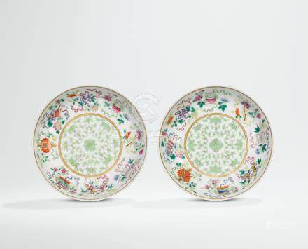 A PAIR OF FAMILLE ROSE 'BAJIXIANG' DISHES