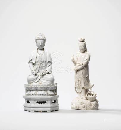 A DEHUA FIGURE OF A SEATED BUDDHA AND A DEHUA STANDING FIGURE OF GUANYIN WITH A FISH-BASKET