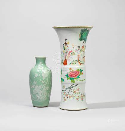 A CELADON-GLAZED SLIP-DECORATED 'PEONY' VASE, GUANYIN ZUN AND A FAMILLE ROSE 'LADIES AND FLOWERS' VASE, GU