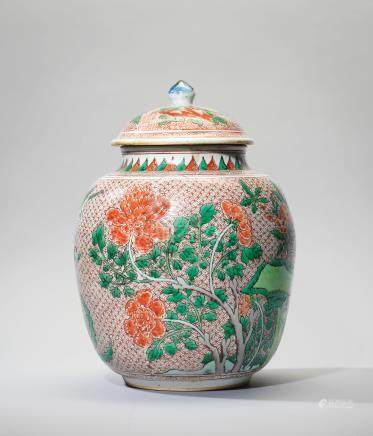 A FAMILLE VERTE 'BIRD AND FLOWER' JAR AND COVER