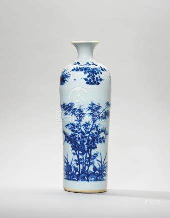 A BLUE AND WHITE ANHUA-DECORATED 'BIRD AND FLOWER' TUBULAR VASE