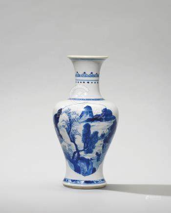 A SMALL BLUE AND WHITE 'LANDSCAPE AND FLOWERS' VASE