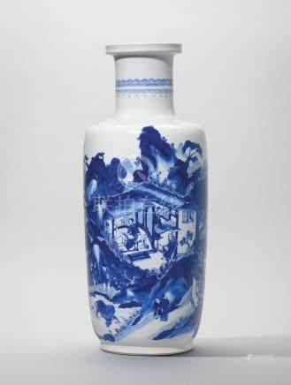 A LARGE BLUE AND WHITE 'LANDSCAPE' ROULEAU VASE