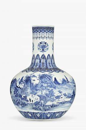 Important vase tianqiuping, Chine, marque sceau Qianlong (17