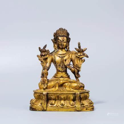 A Chinese Gilt Buddhist Bronze Seated Tara Sculpture