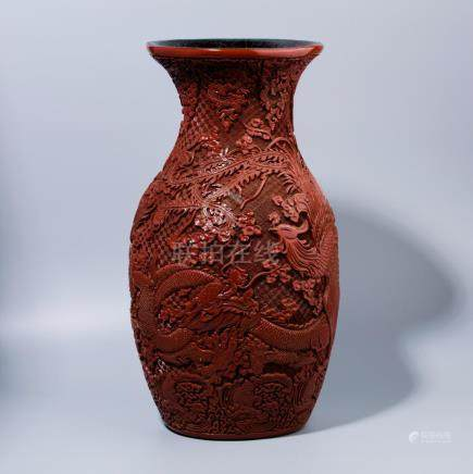 Lacquer dragon carving pattern Vase