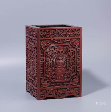 Chinese Lacquer Fu Lu carving  square brush holder