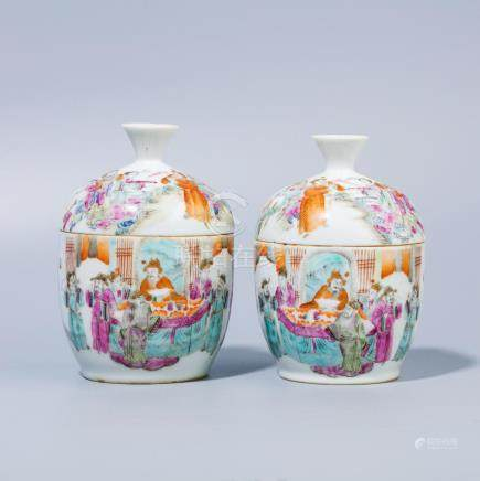 A Chinese Pastel figures Bowls with covers
