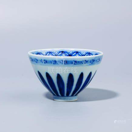 A Chinese Blue and white chicken heart bowl