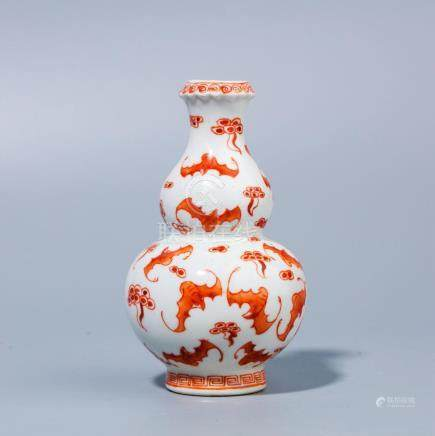 A Chinese red glaze bat bottle gourd bottle