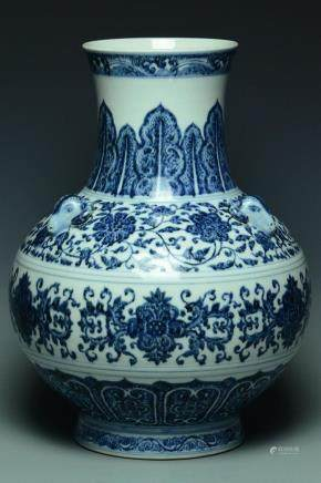 A QING DYNASTY THREE RAMS VASE QIANLONG MARK