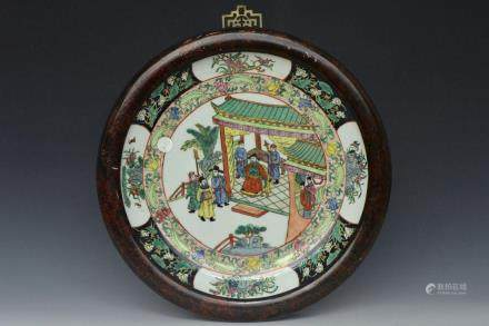 CHRISTIE'S QING FAMILLE ROSE CHARGER FRAMED