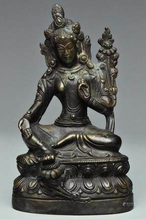 A MING DYNASTY BRONZE FIGURE OF TARA