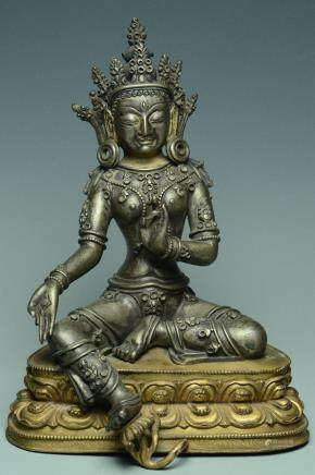 SINO-TIBETAN SILVER & GILT-BRONZE FIGURE OF TARA