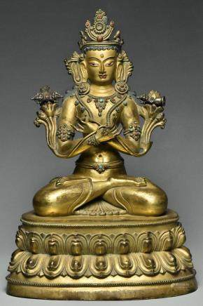 INSCRIBED MING GILT BRONZE VAJRADHARA 15TH C