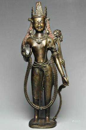 A SILVER-INLAID BRONZE AVALOKITESHVARA 13TH/14TH C