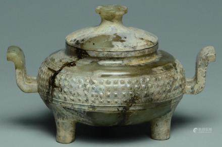 A CELADON JADE TRIPOD VESSEL AND COVER