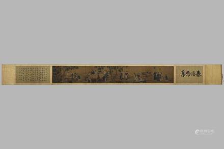 ANONYMOUS LONG SCROLL PAINTING ON SILK