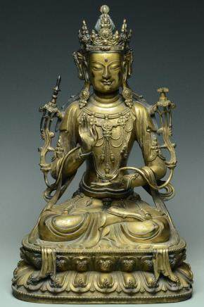 A LARGE MING GILT BRONZE GREEN TARA 15TH C