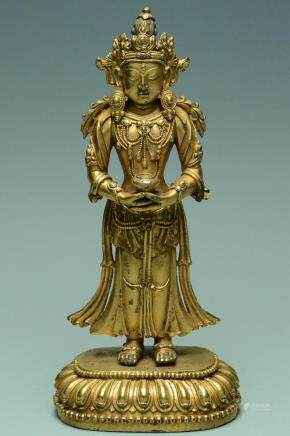 GILT BRONZE AVALOKITESHVARA YONGLE MARK & PERIOD
