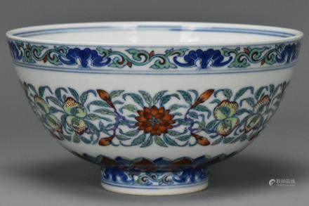 A QING DYNASTY DOUCAI BOWL YONGZHENG MARK