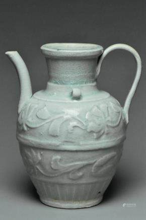 A SONG DYNASTY MOULDED QINGBAI EWER