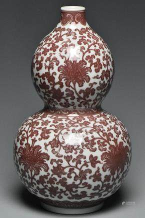 A QING DYNASTY UNDERGLAZED RED VASE