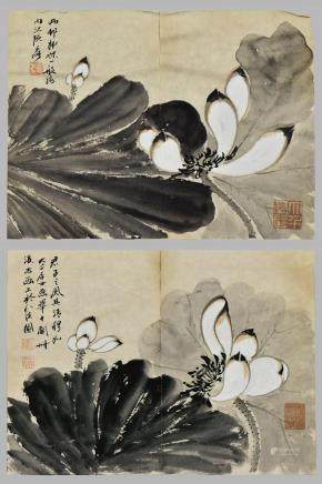 ZHANG DA QIAN(1899-1983), INK AND COLOR ON PAPER