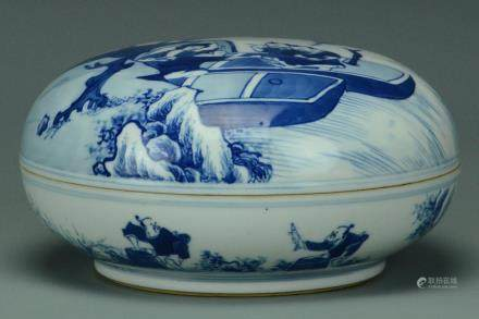 A QING DYNASTY BLUE AND WHITE BOX AND COVER