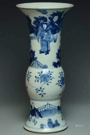 A BLUE AND WHITE FIGURE SUBJECT VASE