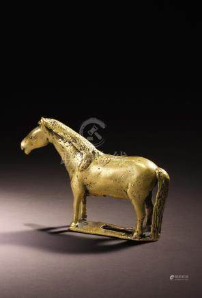 A BRASS ALLOY FIGURE OF A HORSE  TIBET