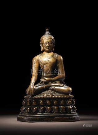 A COPPER ALLOY FIGURE OF BUDDHA VAJRASANA NORTHEASTERN INDIA, PALA PERIOD, 11TH CENTURY
