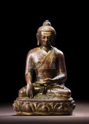 A COPPER FIGURE OF SHAKYAMUNI NEPAL, 18TH CENTURY