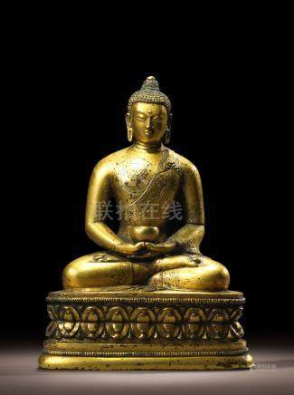 A GILT COPPER ALLOY FIGURE OF AMITABHA MONGOLIA, ZANABAZAR SCHOOL, 17TH CENTURY