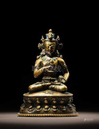 A BRASS ALLOY FIGURE OF VAJRASATTVA TIBET, 13TH CENTURY