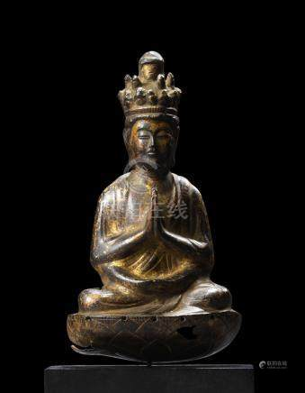 A GILT COPPER ALLOY FIGURE OF SENJU KANNON KAMAKURA PERIOD (1185-1333), 13TH CENTURY