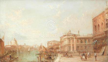 Alfred Pollentine (British, 1836-1890) 'The Grand Canal, Venice'; 'S.Giorgio Maggiore, Venice'; 'The Ducal Palace and Columns of St Mark, Venice', a set of three each 23 x 38cm (9 1/16 x 14 15/16in). (3)
