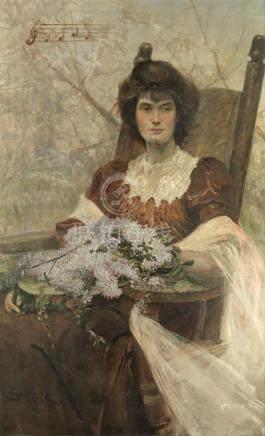 Henry Charles Seppings Wright (British, 1850-1937) Portrait of Ella King-Hall