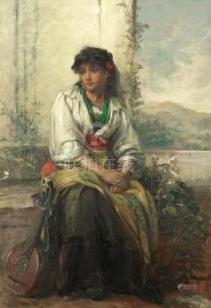 Thomas Kent Pelham (British, active 1860-1891) 'A minstrel of a Southern Clime'