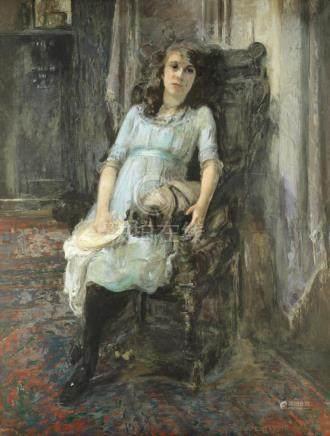 Kate Elizabeth Olver (British, 1881-1960) Portrait of a seated young lady, Miss Yvonne Stewart Bernard