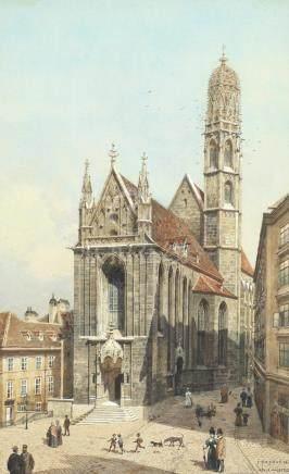 Franz Poledne (Austrian, 1873-1932) Maria am Gestade, Vienna