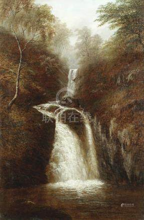 William Mellor (British, 1851-1931) Woodland waterfall