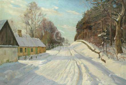 Harald Julius Niels Pryn (Danish, 1891-1968) A snowy track