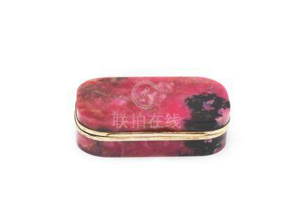 A 19th century silver-gilt-mounted rhodonite box unmarked