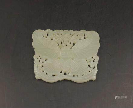 CHINESE WHITE JADE BUTTERFLY PENDANT
