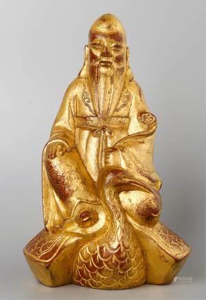 CHINESE GILT BRONZE GOD OF LONGEVITY STATUE